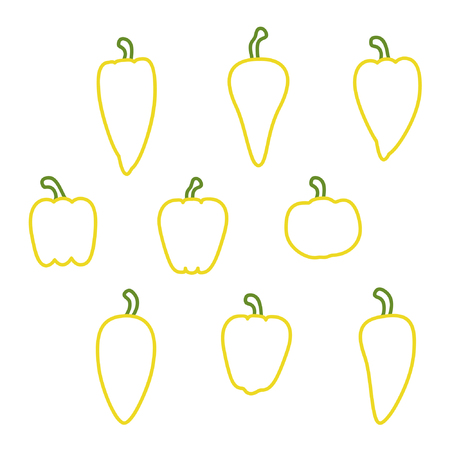 Set of outline peppers - vector illustration