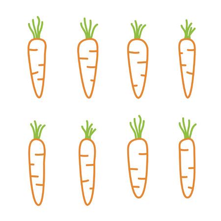 Outline carrots set - vector illustration Illustration