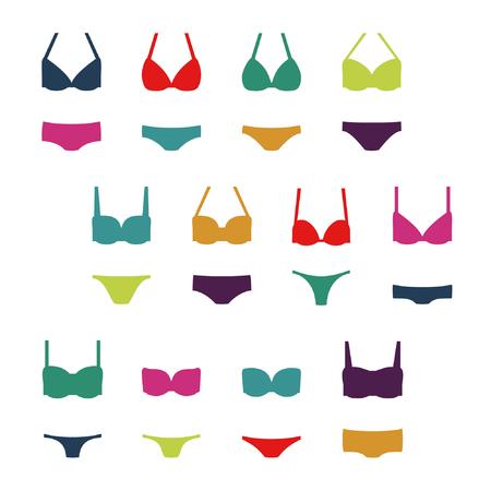 Set of women's swimwear - vector illustration.