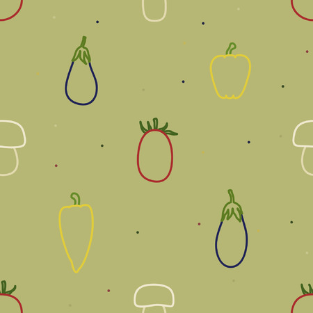Outline vegetables and mushrooms vector background Иллюстрация
