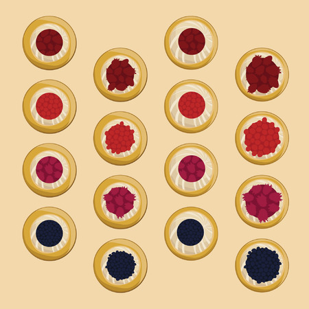 Set of traditional Czech pies with curd and berry fruits - vector illustration