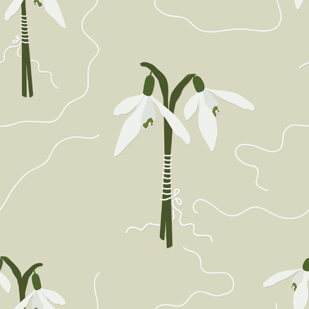 Snowdrop flowers vector seamless background