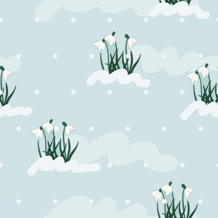Snowdrops growing under the snow - vector background Çizim