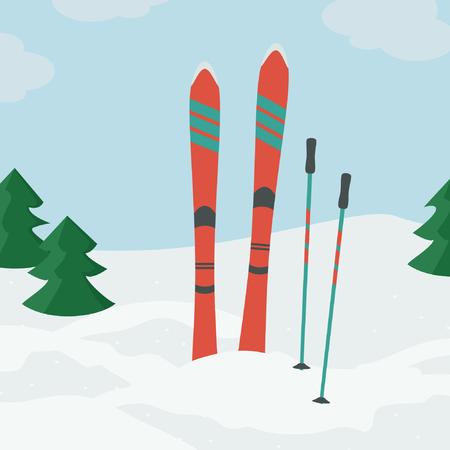 Ski rouge avec des bâtons de ski vector illustration Banque d'images - 94458281