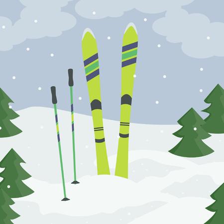 Ski vert clair avec des bâtons de ski vector illustration Banque d'images - 94682763