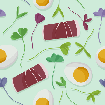 Ham, eggs and sprouts - vector background