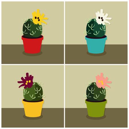 Set of blooming cacti - vector illustrations Çizim