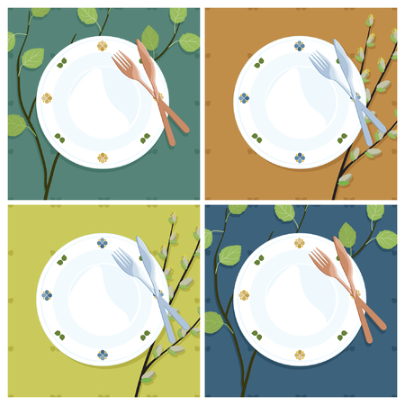 Rustic plates and cutlery vector illustration