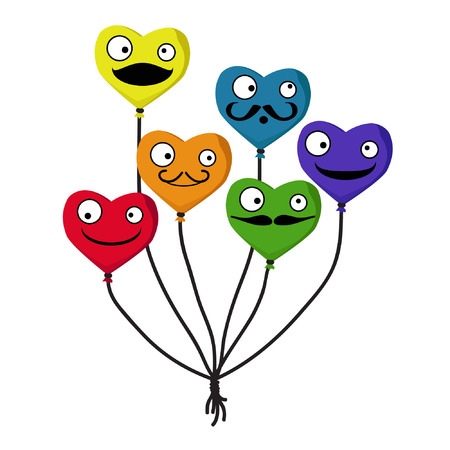 Colorful heart balloons - vector illustration Ilustrace