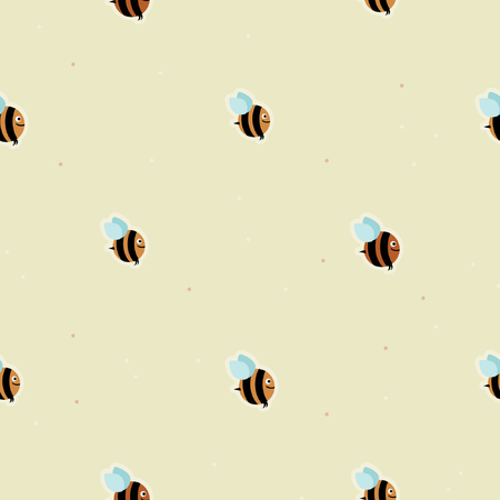 Flying bee - vector background seamless pattern design