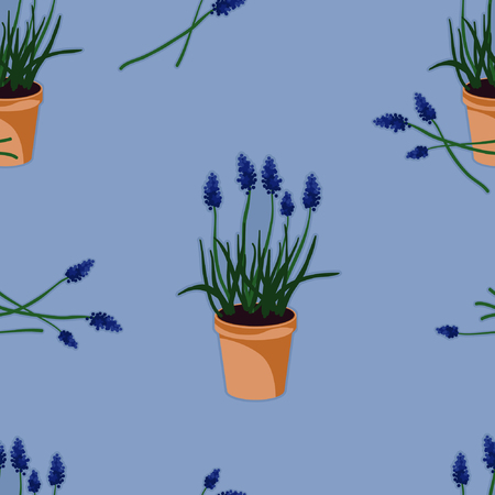 Potted bluebells - vector background