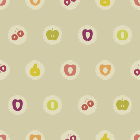 Patches with various fruit vector background illustration.