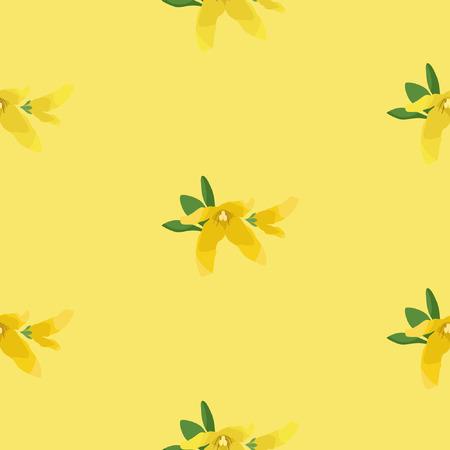 Forsythia blossom seamless pattern vector background.