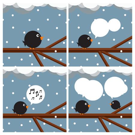 Birds sitting on tree branch - vector illustration