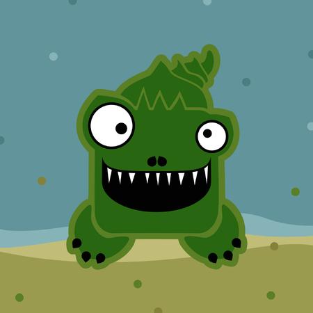 Smiling crocodile in water - vector illustration
