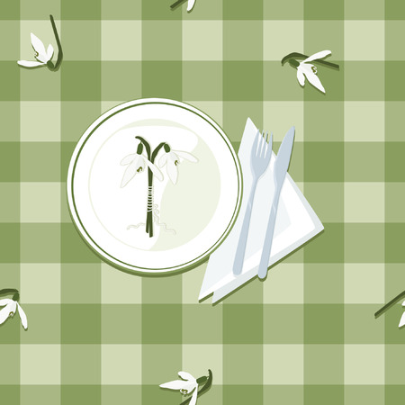 Plate, cutlery and snowdrops on checkered tablecloth. Иллюстрация