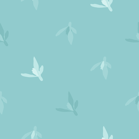 Light blue snowdrop blossoms - vector background