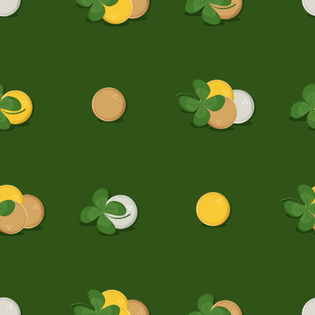 Four leaf clover and coins - vector background