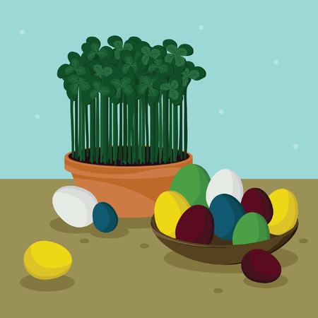Colored Easter eggs and growing clover - vector illustration