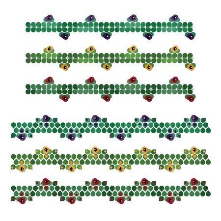 Set of rustic poppy flower patterns - vector illustration.