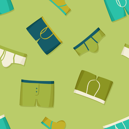 Mens underwear on light green - vector background
