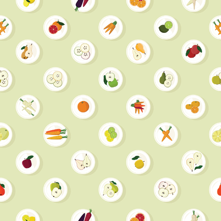 Fruits and vegetables served on plates - vector background