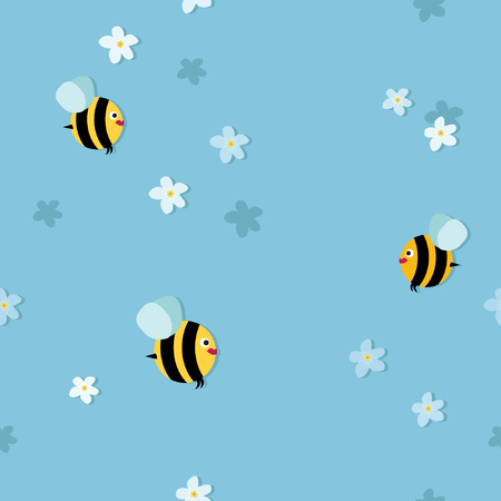 Bees flying between blossoms vector background