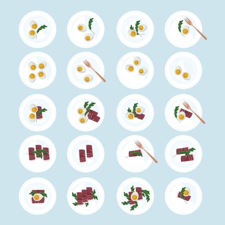 Served hard boiled eggs, ham and arugula - vector illustration