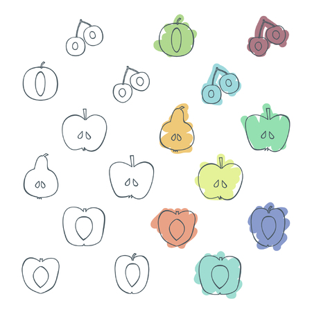 Set of outline tree fruits - vector illustration