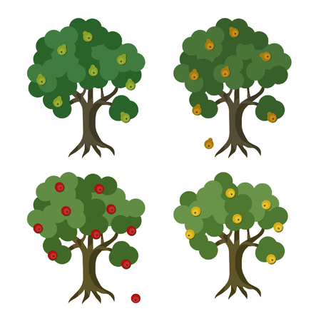 Apple and pear trees set - vector illustration