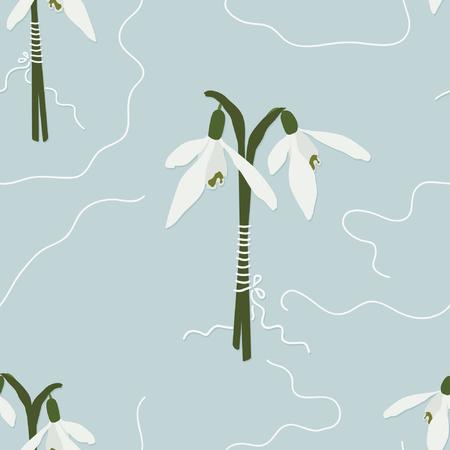 Snowdrop bouquet on light blue - vector illustration Çizim