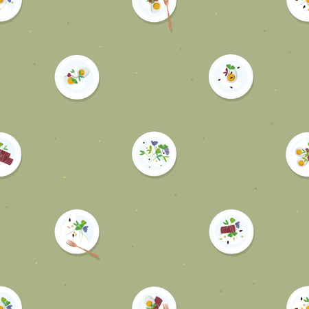 Served eggs, prosciutto and sprouts - vector background