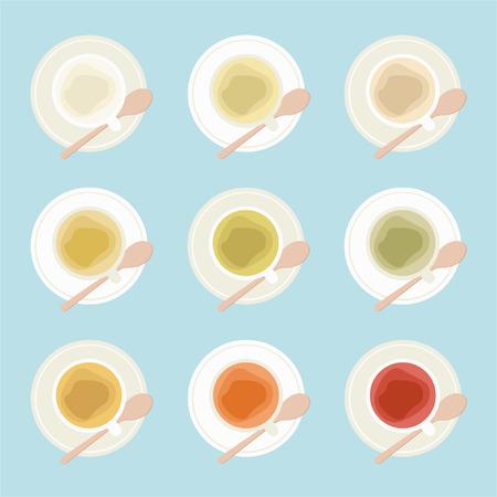 Various types of tea - vector illustration