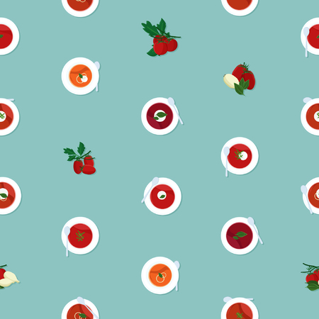 Served tomato soup - vector background