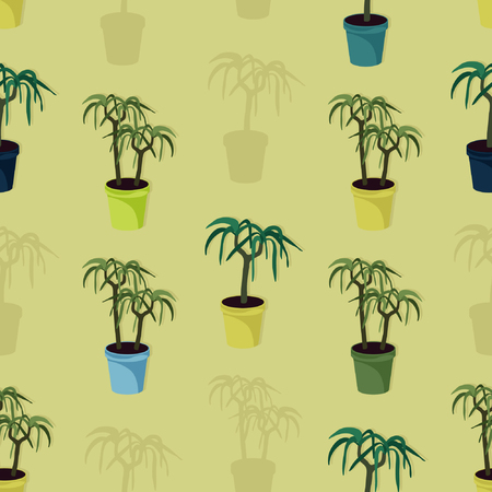Potted palm trees - vector background