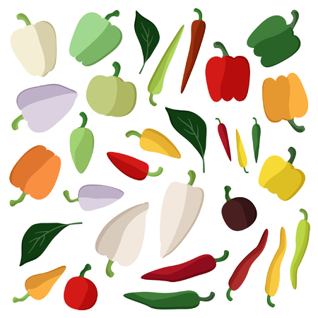 Set of various peppers - vector illustration Иллюстрация
