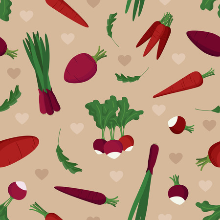 Red vegetables and heart - vector background 向量圖像