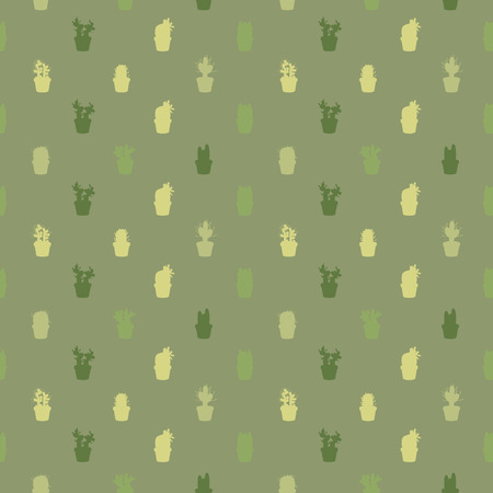 Various cacti silhouettes - vector background