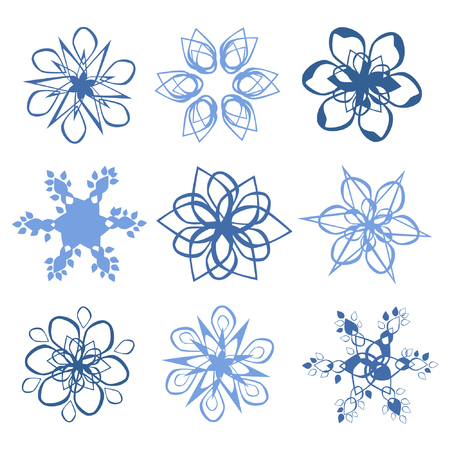 Set of different snowflakes - vector illustration