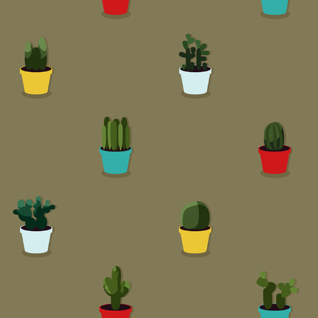 Various cacti plants - vector background