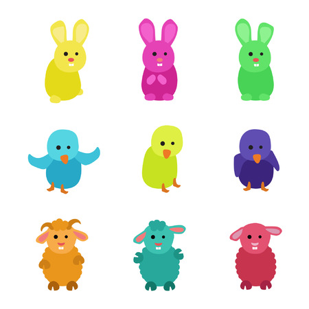 Set of small rabbit, chicken and sheep - vector illustration