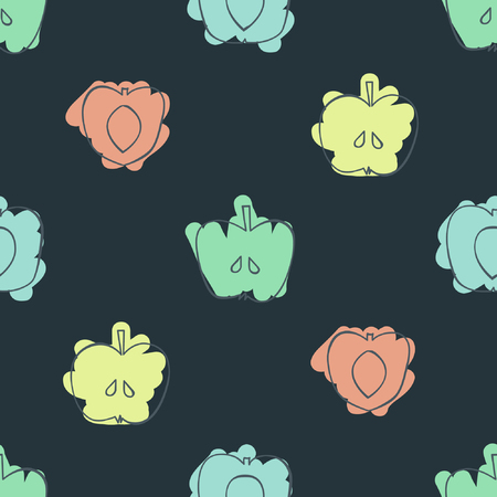Outline apples, peaches and apricots - vector background