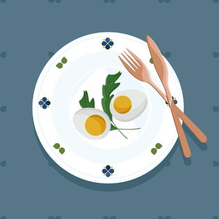 Served eggs and arugula - vector illustration
