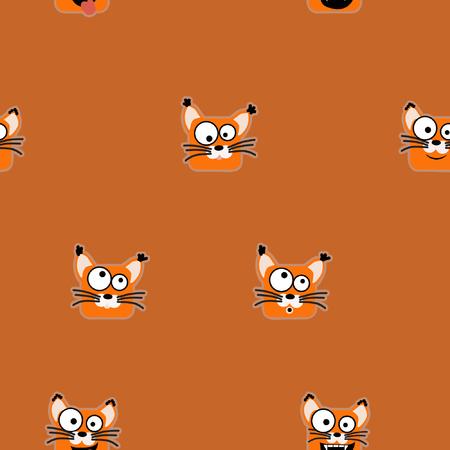 Fox emoticons on orange background - vector background