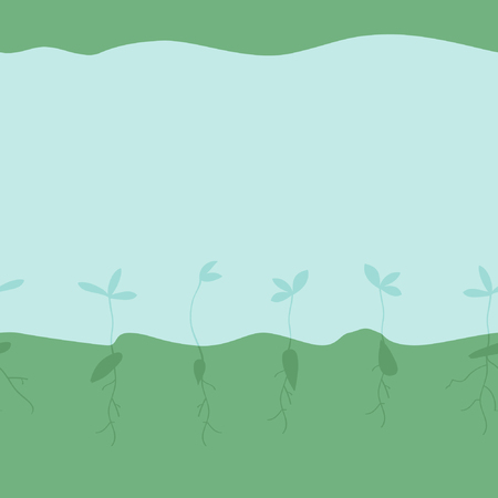 Growing seeds silhouettes - vector illustration