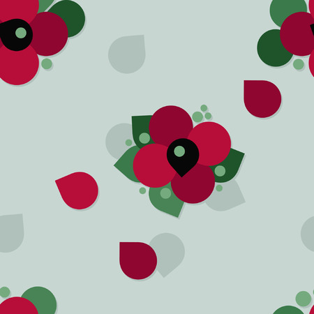 Red poppy blossoms - vector background Çizim