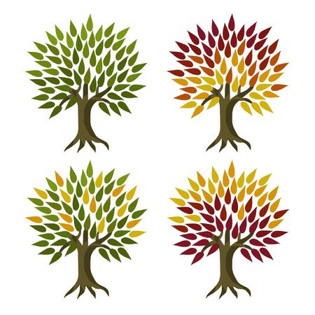 Set of leafy trees - vector illustration Illustration