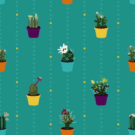 Blooming cacti plants - vector background