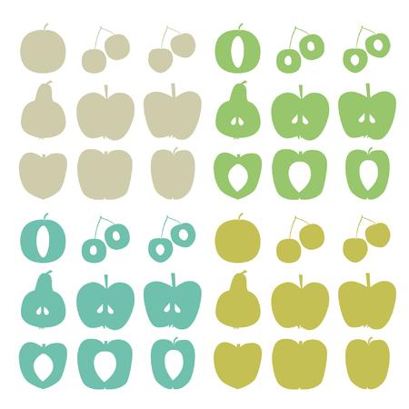 Tree fruit silhouettes - vector illustration