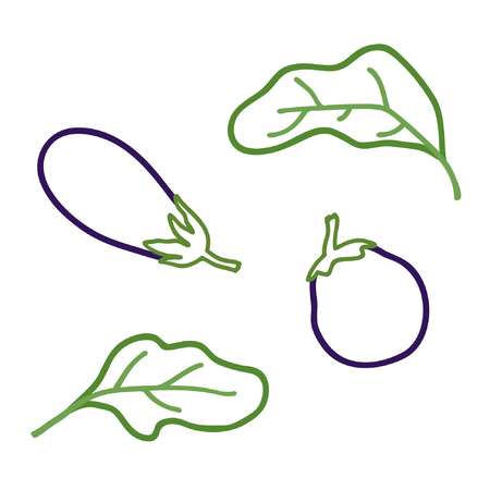 Outline eggplant set - vector illustration